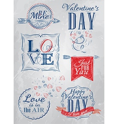 Set valentines day red blue vector