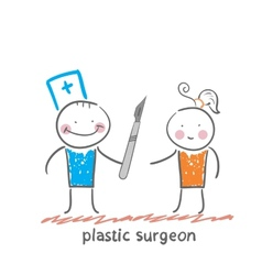 Plastic surgeon with a scalpel is close to the vector