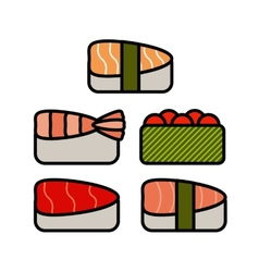 Asia food icon set with sushi rolls sashimi noodle vector