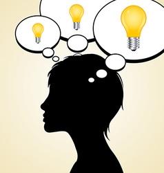 Woman silhouette with idea light bulbs vector