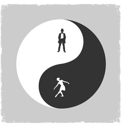 Yin yang male and female symbol vector