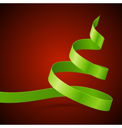 Christmas green tree from ribbon background vector