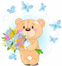 Blue teddy bear with flowers vector
