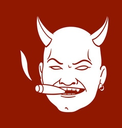 Smoking devil head vector