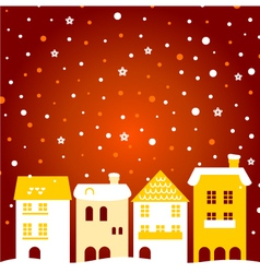 Colorful winter christmas town with snow behind vector