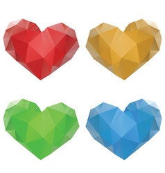 Polygonal hearts set3 vector