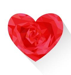 Polygon red love heart shape vector