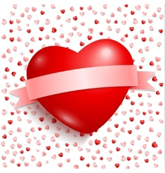 Big red heart with red ribbon vector