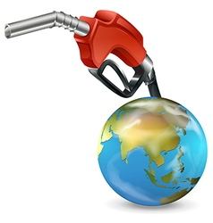 A red petrol pump and a globe vector