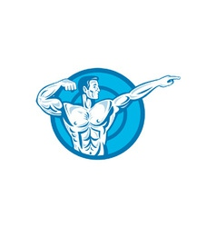 Bodybuilder flexing muscles pointing side retro vector