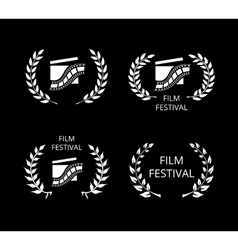 Four film festival symbols and logos on black vector