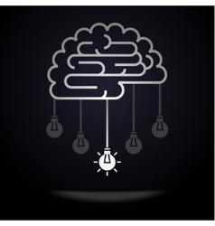 Brain with light bulbs vector