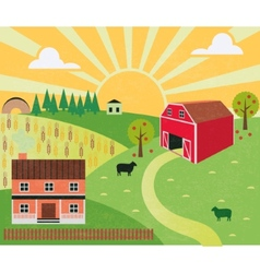 Rural landscape with farm and hills vector