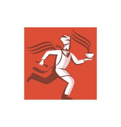 Chef cook baker running with soup bowl vector