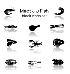 Fish and meat black icons vector