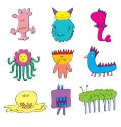 Monsters cute set vector