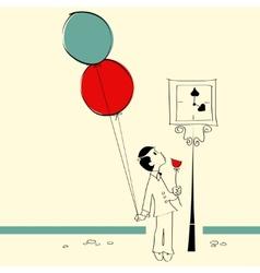 Boy with balloons vector