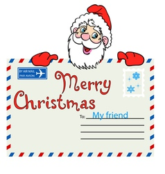 Santa claus holds a mailing envelope with seal vector