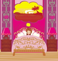 Girl dreams of a vacation in the tropics vector