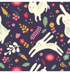 Pattern with cute rabbits vector