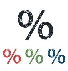 Percent grunge icon set vector