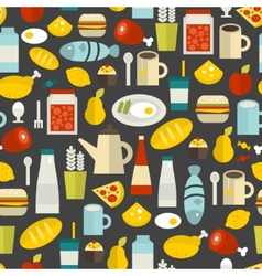 Seamless pattern with different food and drinks vector