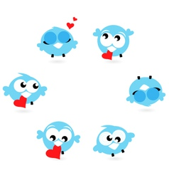 Cute blue twitter birds with red hearts set vector