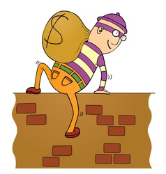 Thief climbing wall vector