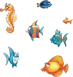 Set of cartoon marine fish and skate vector