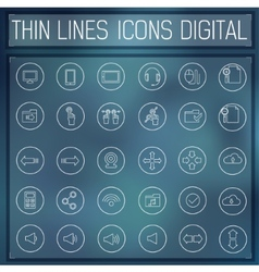 Thin line digital gadget set icons concept vector