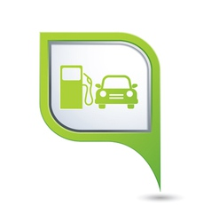 Petrol station and car green pointer vector