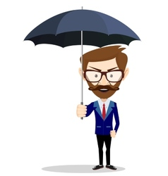 Cartoon businessman with umbrella vector