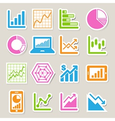 Business graph sticker icon set eps10 vector