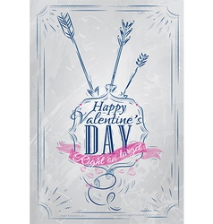 Valentines day poster coat blue vector