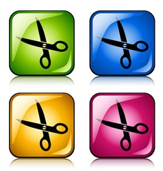 Scissors buttons vector