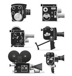 Old retro vintage movie video camera 06 vector