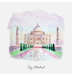 Watercolor taj mahal picture india culture vector