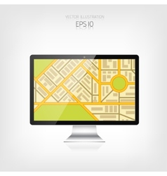 Navigation background with monitor and map vector