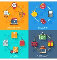 Shopping concept icons set vector