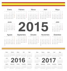 Spanish circle calendars 2015 2016 2017 vector