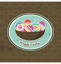 Background with easter eggs and label vector