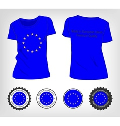 T-shirt with the flag of european union vector