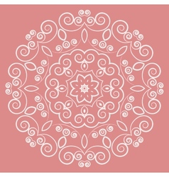 Round lacy white pattern on pink background vector