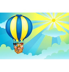 Hot air balloon trip vector