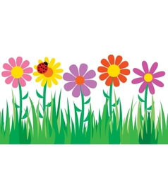 Seamless grass and flowers vector