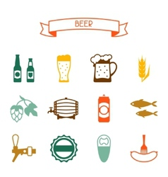 Beer icon and objects set for design vector