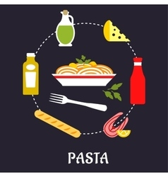Italian pasta with ingredients flat infographic vector