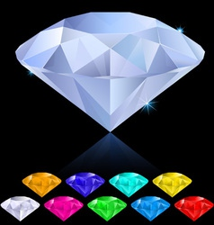 Diamonds in different colors vector