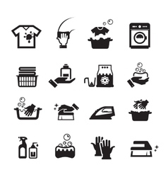 Laundry washing icons set vector