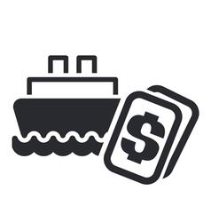 Boat cost icon vector